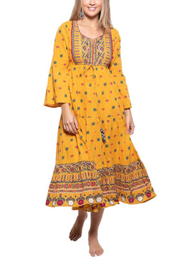 Indian Print Embroidered Maxi Dress