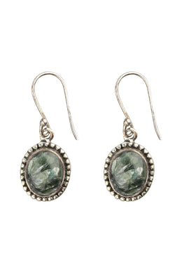 Assorted Gemstone Oval Droplet Silver Earrings