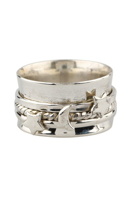 Stars & Moon Silver Spinning Ring