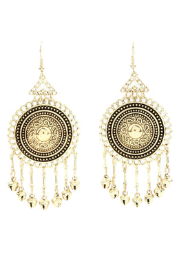 Gold Statement Shield Droplet Earrings