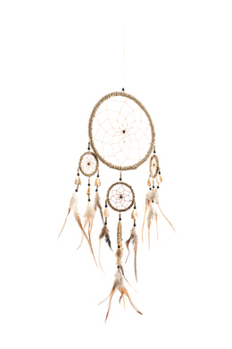 Natural Yarn & I-Ching Coin Dreamcatcher