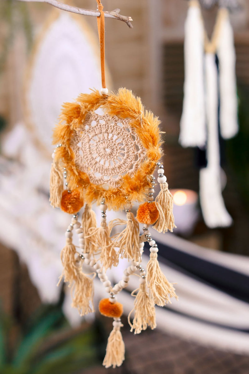 Fuzzy Ochre Earth Dreamcatcher