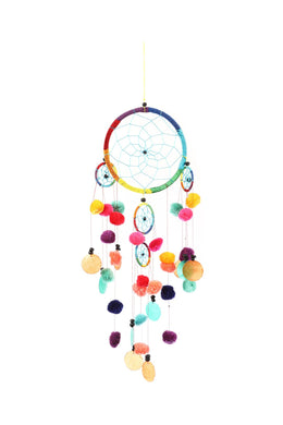 Multicoloured Pom Pom Dream Catcher