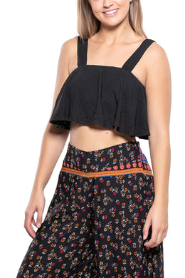 Wide Strap Frill Crop Top