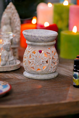 Flower Carved Aroma Lamp Oil Burner