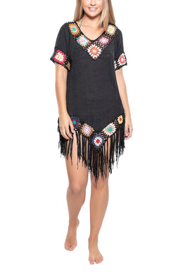 Fringed Crochet Beach Cover Up Tunic