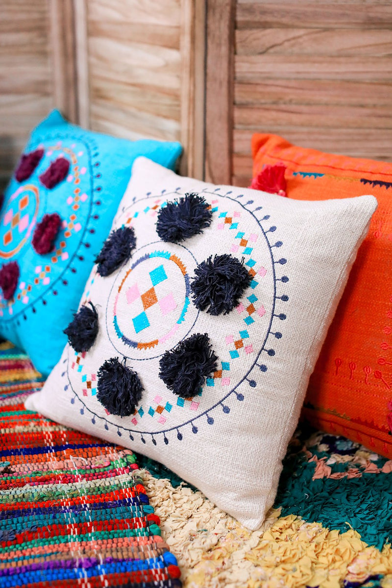 Bolero Pom Pom Embroidered Circle Cushion