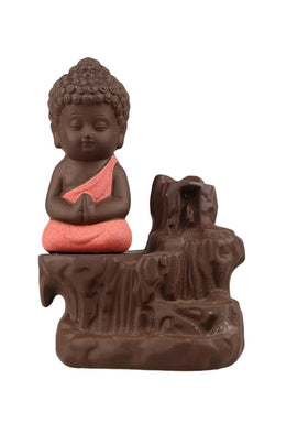 Red Buddha Backflow Incense Burner Set