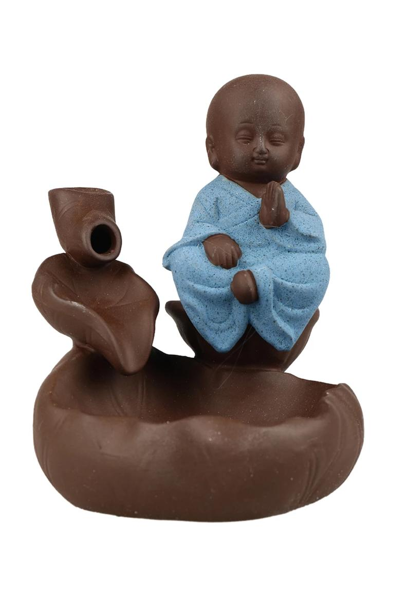 Blue Monk Backflow Incense Burner Set