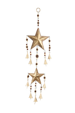 HANDCRAFTED 2STAR WOODEN IRON WINDCHIME 14X3X59.6cm