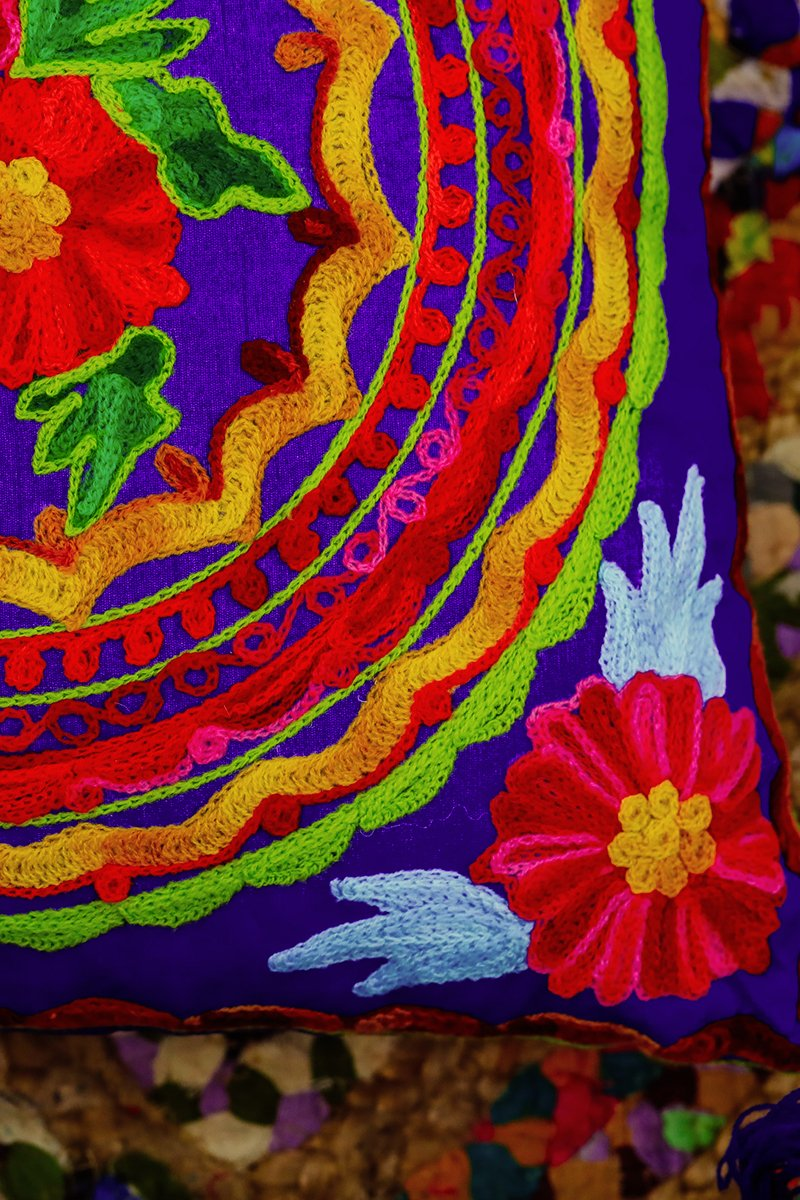Bright Colours Embroidered Cushion