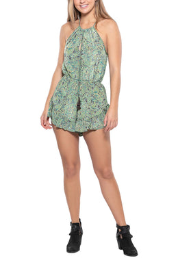Halter Neck Paisley Shorty Jumpsuit