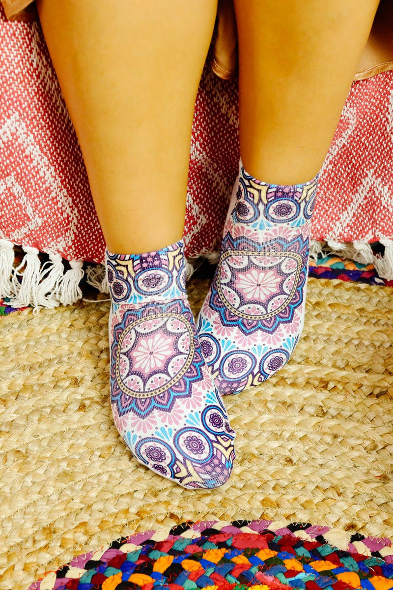 Womens Digital Print Socks - Web Mandala