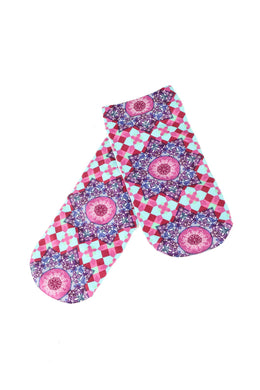 Womens Digital Print Socks - Check Mandala