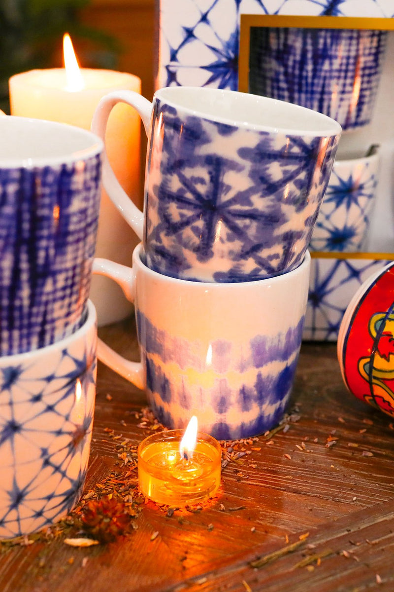 Set of 4 Shibori Ceramic Mugs