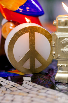 Gold Peace Sign Candle