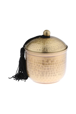 Small Hammered Metal Gold Candle Tin