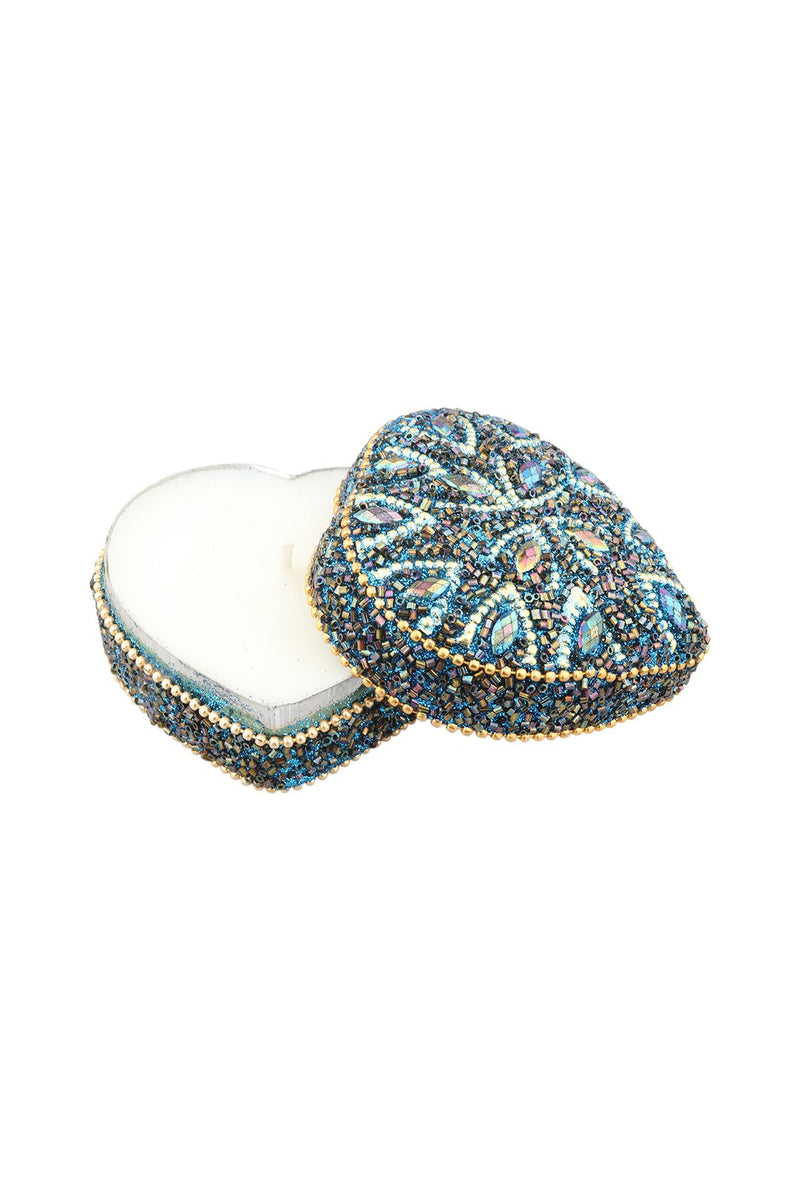 Beaded Heart Candle Tin