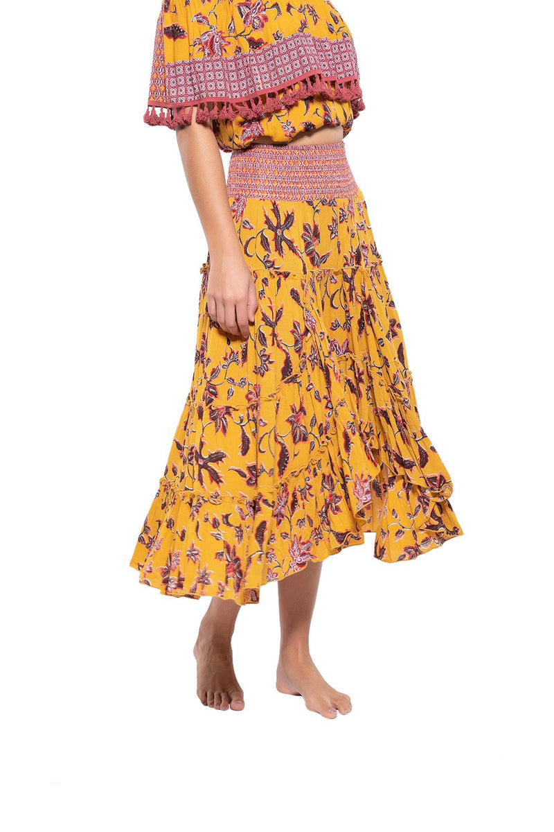 Floral High Low Gypsy Skirt