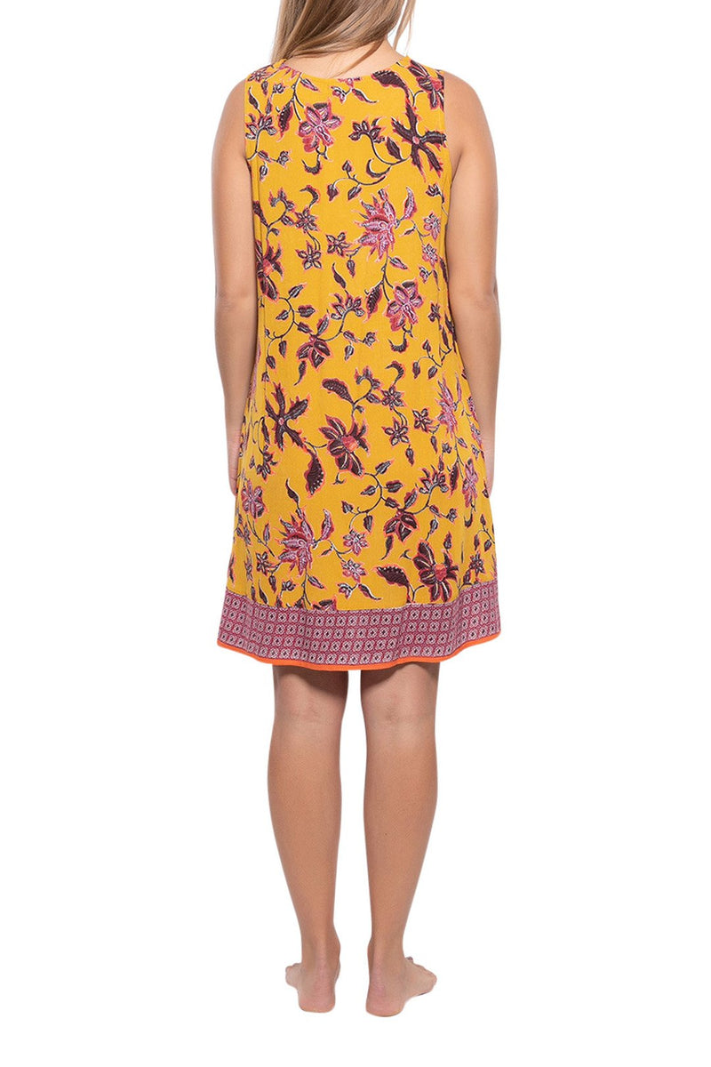 Tie Front Knee-Length Floral Dress