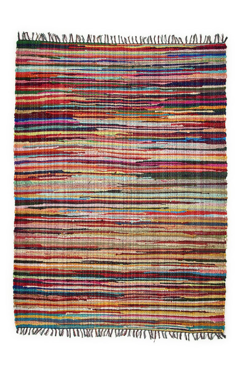 Assorted Large Cotton Multicolour Chindi Rug
