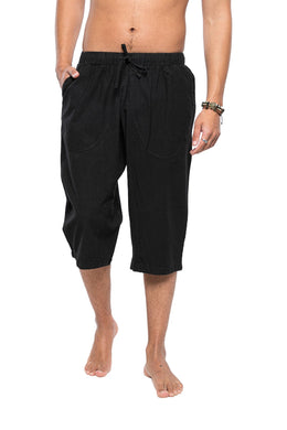 Black Side Pockets 3/4 Length Shorts