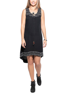Tie Front Embroidery Dress