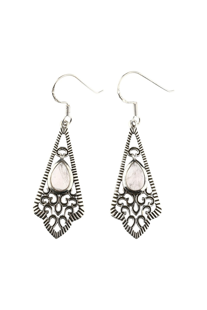Ornate Silver Filigree Rose Quartz Earrings