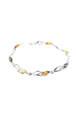Baltic Amber Vine Links Silver Bracelet