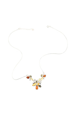 Baltic Amber Cluster Silver Necklace