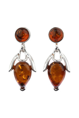 Round Baltic Amber Droplet Silver Earrings