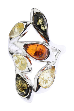 Baltic Amber Vine Wrap Silver Ring