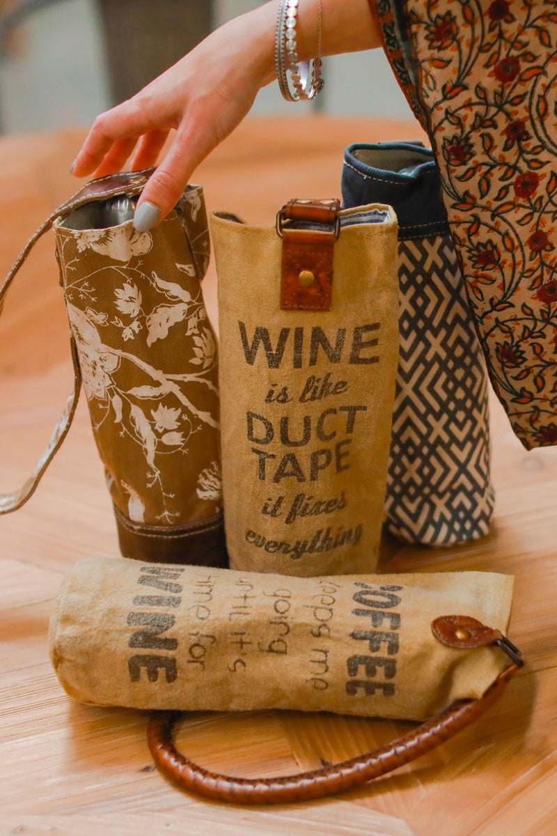 Canvas & Leather Bottle Bag