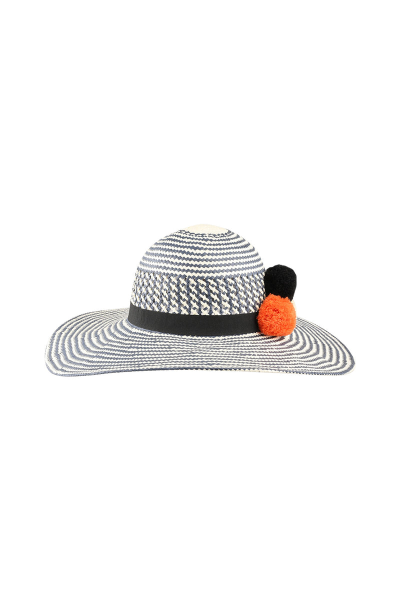 Two Tone Weave Pom Poms Sun Hat