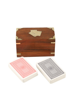 Double Deck Card Sheesham Wood Game Box Set