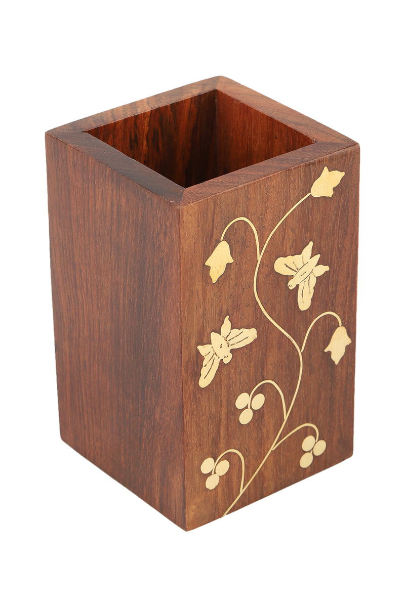 Brass Vine Sheesham Wood Pen Holder