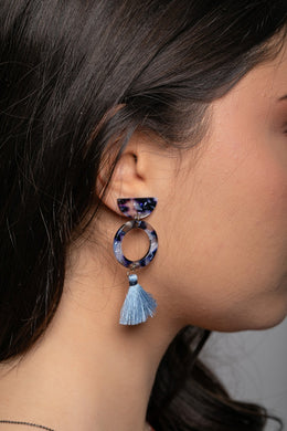 Blue Acrylic & Mini Tassel Earrings