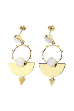 Rainbow Moonstone Dotted Gold-Plated Silver Earrings
