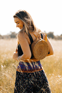 Roundie Straw Bag Backpack