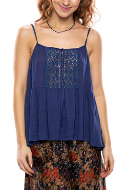 Strappy Lace Trim Tank Top