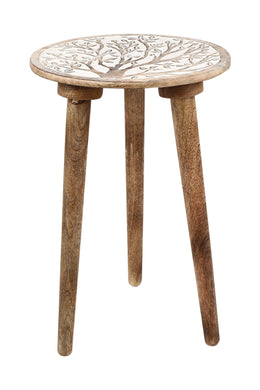 Mango Wood Tripod Side Table