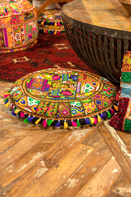 Assorted Large Multicolour Gujarati Round Embroidered Cushion