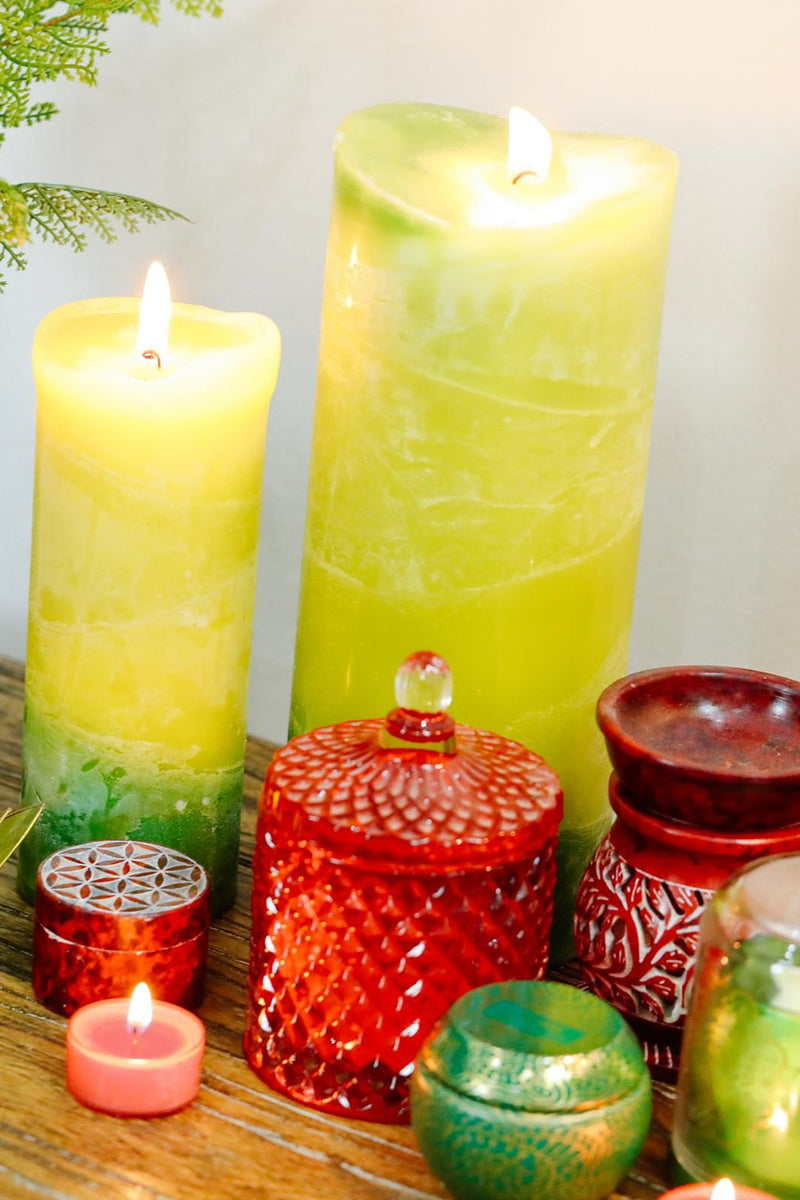 Extra Tall V-Shape Scented Pillar Candle