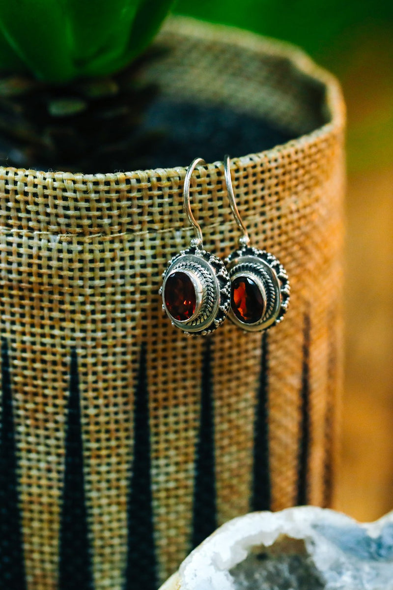 Tribal Oval Garnet Silver Earrings