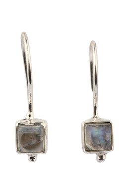 Dainty Square Rainbow Moonstone Silver Earrings