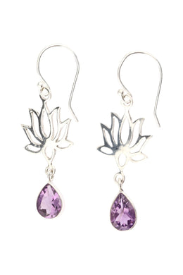 Open Lotus Amethyst Droplet Silver Earrings