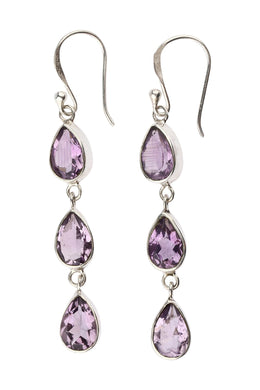 Three Amethyst Teardrop Layered Silver Earrings