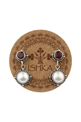 Garnet & Freshwater Pearl Dotted Edge Silver Earrings