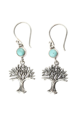 Turquoise Tree of Life Silver Earrings