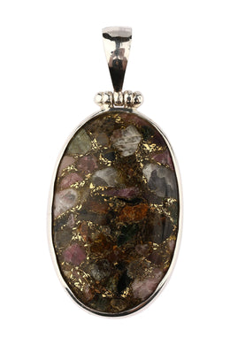 Copper & Tourmaline Oval Silver Pendant
